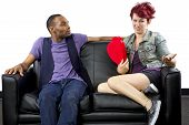 picture of bitchy  - black male and caucasian female couple on a couch - JPG