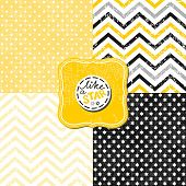 stock photo of chevron  - little polka dots stars and chevron black white yellow gray geometric crackle backgrounds set with vintage frames - JPG