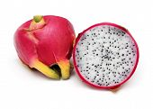 foto of dragon fruit  - Fresh organic dragon fruit cut in half - JPG