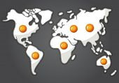Fried Eggs In A Shape Of World Map
