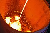 image of furnace  - Liquid metal from blast furnace shoot in plant - JPG