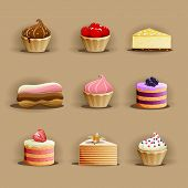 Set Of Delicious Cakes