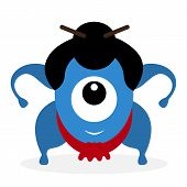 Funny cartoon sumo wrestler cyclops