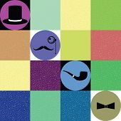 gentleman accessories vector on colorful background