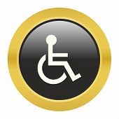 picture of wheelchair  - Handicap or wheelchair person icon as a symbol of handicap or wheelchair person - JPG