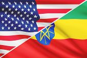 Series Of Ruffled Flags. Usa And Federal Democratic Republic Of Ethiopia.