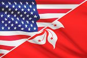 Series Of Ruffled Flags. Usa And Hong Kong Special Administrative Region Of The People's Republic Of