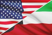 Series Of Ruffled Flags. Usa And State Of Kuwait.