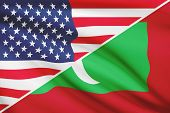 Series Of Ruffled Flags. Usa And Republic Of The Maldives.