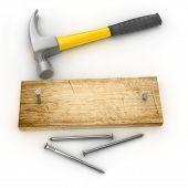 yellow hammer on white background