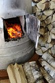 Old Stove Flame And Birch Firewood