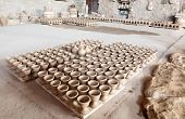 stock photo of bahrain  - Hand made amphoras in a traditional pottery. Bahrain Middle East