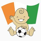 Baby Soccer Boy with Cote D'Ivoire Flag