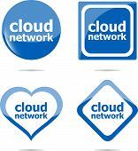 Cloud Network Text Stickers Set Isolated On White