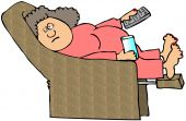 stock photo of fat woman  - This illustration depicts a tired woman sitting in a recliner with a TV remote and drink - JPG