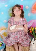 Sweet Girl With Bunny On Her Lap At Easter