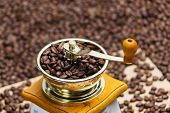 detail of coffee mill with coffee beans