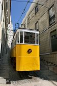 Old Yellow Tram Standing In The Street Of Lisbon