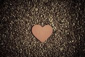 Healthy Diet. Flax Seeds Linseed As Food Background And Red Heart