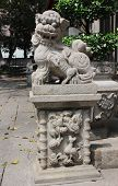 Chinese Guardian Lion. View Of Lin Fung Temple