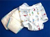 Potty Pants & Diaper On Blue