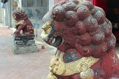 Chinese Guardian Lion. Sam Seng Temple In Macau