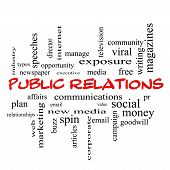 Public Relations Word Cloud Concept In Red Caps