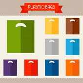 Plastic bags colored templates for your design in flat style.