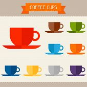 Coffee cups colored templates for your design in flat style.