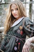 Picture Of Beautiful Blonde Girl In A Vintage Folk Dress