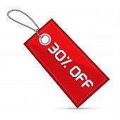 Thirty Percent Off Red Discount Sale Paper Label, Tag With Strings