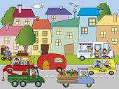 pic of ice-cream truck  - illustration of city with building and transportations - JPG