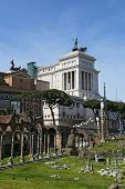 Ancient Ruins Of Imperial Forum In Rome, Via Dei Fori Imperiali. April 06, 2014 In