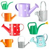 Watering can collection isolated on white