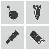 Vector black bomb icons set