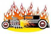 pic of rod  - A vector illustration of a vintage hot rod - JPG