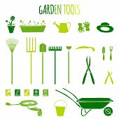 Garden Tools Icons Green