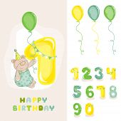 Baby Bear Birthday Card - with Editable Numbers - invitation, congratulation -  in vector