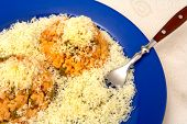 stock photo of shredded cheese  - Vegetable risotto with shredded cheese - JPG