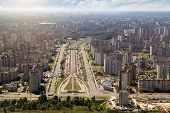 Kiev, summer cityscape of Ukrainian capital from bird's eye view