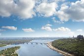 Kiev, summer cityscape of Ukrainian capital from bird's eye view