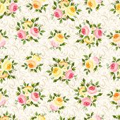 Seamless pattern with pink, orange and yellow roses. Vector illustration.