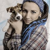 image of dreadlocks  - beautiful girl with dreadlocks and dog Jack Russell terrier - JPG