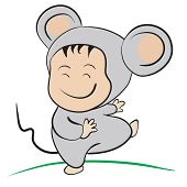 Baby In Mouse Costume  : Done In A Hand-drawn Vector Illustration Style