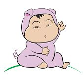 Baby In Pig Costume  : Done In A Hand-drawn Vector Illustration Style