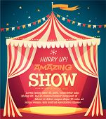 Circus tent poster. Vector illustration.