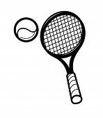 tennis racket and ballon