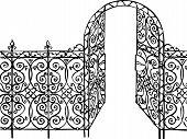 ornamental gate and fence illustration