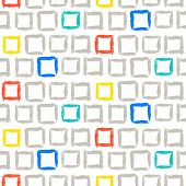 stock photo of cross-hatch  - Vector geometric pattern with small hand painted squares placed in zigzag lines in bright white - JPG