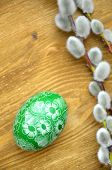 beautiful scratched handmade Easter egg and catkins